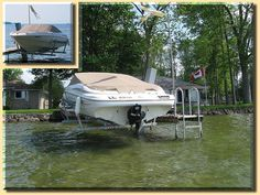 Built with pride, these boat hoists reflect the beauty of simplicity, toughness and quality. Boat Hoist, Deck, Building, Photos, House, Pictures, Home, Front Porches, Buildings