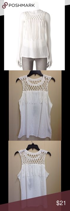 "Rock & Republic Macrame Yoke Tank top XL Rock & Republic Women's Macrame Yoke Tank top White Size XL NWT  Rock & Republic delivers exceptional style with this women's macrame tank top.  PRODUCT FEATURES  Macrame design decorates the yoke Fringed details Crewneck Soft jersey construction White FABRIC & CARE Cotton, modal Machine wash Measurements: XL: Size: 16-18 Bust: 42-44"" Waist: 34.5-36.5"" Hips: 45-47""  Item comes from a pet and smoke-free environment. Rock & Republic Tops Tank Tops"