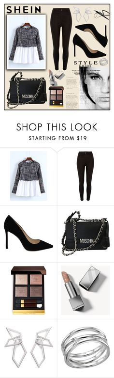 """-Tweed-Babydoll-Blouse-"" by sabina-mehic123 ❤ liked on Polyvore featuring River Island, GE, Jimmy Choo, Moschino, Tom Ford, Burberry, W. Britt and Links of London"