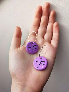 Cute Polymer Clay, Cute Clay, Polymer Clay Crafts, Polymer Clay Jewelry, Diy Clay Earrings, Funky Earrings, Earrings Handmade, Keramik Design, Clay Charms