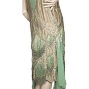1920's Beaded Flapper Dress *Gold Lame *Couture *Repair
