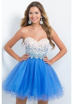 Wishesbridal Fashionable Sweetheart Mini Blue #Tulle A Line #Cocktail Homecoming Dress Cbp0122