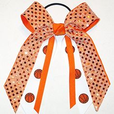 Basketball Soft Touch Sequin Hair Bow, Made in the USA, Avail in many colors, Black Pony Band,… Review