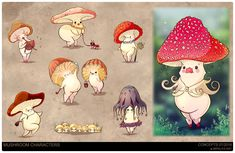 A personal project of mine where mushrooms try to survive the constant attacks of the pig people. Character Illustration, Illustration Art, Mushroom Art, Art Challenge, Cool Cartoons, Character Design Inspiration, Beautiful Artwork, Cute Drawings, Cute Art