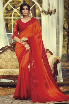 Online Shopping of Party Style Fancy Orange Color Saree With Embroidered Blouse In Art Silk Fabric from SareesBazaar, leading online ethnic clothing store offering latest collection of sarees, salwar suits, lehengas & kurtis Red Chiffon, Chiffon Saree, Dresses Online Usa, Silk Fabric Online, Bollywood Sarees Online, Party Wear Sarees Online, Net Blouses, Designer Silk Sarees, Traditional Fashion