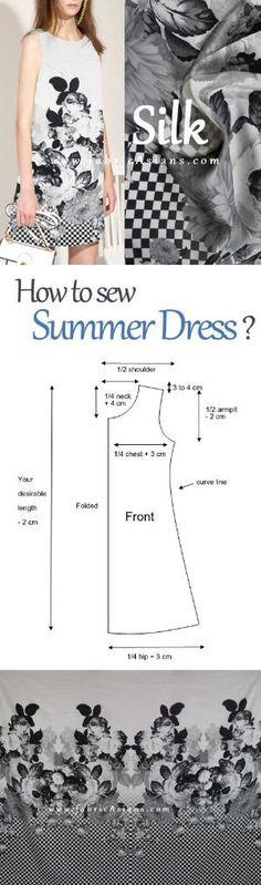 how to sew summer dress? free summer dress pattern. tunic dress project idea by gloriaU