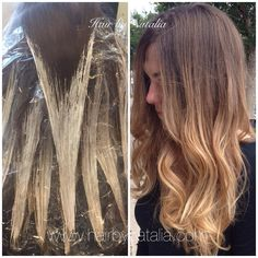 Balayage hair color painting.  Best technique for seamless color transition…