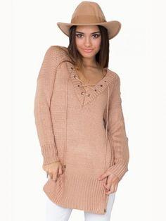 Long Sleeve Lace Up Side Split Casual Knitwear Sweater