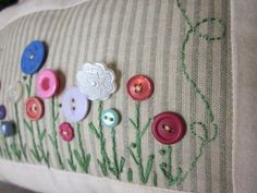 Button Flower Garden Decorative Pillow by simplyzofiastitchery