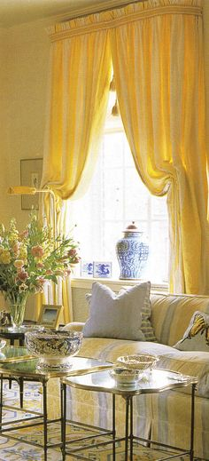 bedroom curtain style -- I like the top stripe, adds a nice variety to the uniform fabric
