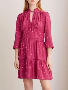 Crewneck Polka Dot Mini Dress #MiniDresses #PolkaDot #Crewneck #Sweetstyle #womenfashion #ootdfashion