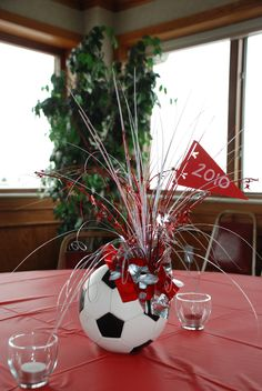 Soccer Ball Centerpieces - A vegetable bouquet is a collection of greens in a inventive arrangement. Vegetable bouquets are typically considered as . Sports Banquet Centerpieces, Baseball Centerpiece, Banquet Decorations, Table Centerpieces, Banquet Ideas, Graduation Centerpiece, Soccer Theme Parties, Soccer Party, Sports Party