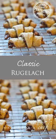 TESTED AND PERFECTED RECIPE - Delicious to eat and fun to make, rugelach are miniature crescent-rolled pastries with a sweet filling. Cookie Recipes, Dessert Recipes, Biscuits, Jewish Recipes, Jewish Desserts, Cupcakes, Christmas Baking, Christmas Cookies, Goodies