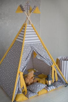 Just look at these colors. Its smth amazing!!! I think that grey and yellow - really great combination of colors. And these stripes and stars....they are cool. And this Teepee tent set is ideal for any room design!!! This amazing Teepee with strips for Your little kids with mattress, basket for toys Kids Tents, Teepee Kids, Teepees, Girls Tent, Teepee Party, Deco Rose, Diy Tent, Diy Pallet Projects, Baby Boy Rooms