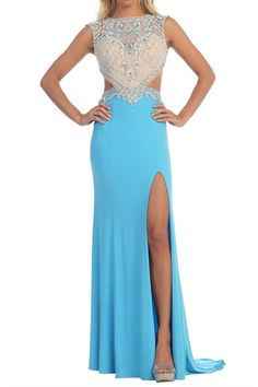 Jeweled Bodice Sexy High Neck Cutout Long Prom Dress