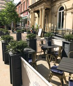 Cafe Banner & Planter Installation for Lost & Found in Leeds. Outdoor Restaurant Patio, Pizza Restaurant, Cream Restaurant, Leeds Restaurants, Leeds Bars, Commercial Planters, Outdoor Seating, Outdoor Decor, Fresco