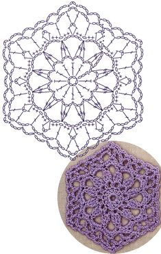 No.41 Sunflower Hexagon Lace Crochet Motifs / 선플라워 헥사곤 모티브도안
