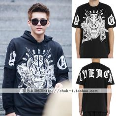 EXO same paragraph KTZ KRIS Kris Wu demon skull cotton short-sleeved round neck T-shirt lovers clothes for men and women //Price: $US $22.90 & FREE Shipping //     #cosplay