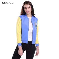 >> Click to Buy << Women Collection Cartoon Embroidered Crop Jacket Cotton Space Two-Tone Colored Design Coat Girl's Fashion Outwear #Affiliate