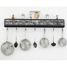 Hi-Lite Leaf Wall Mounted Pot Rack Accent Finish: Brushed Copper Topcoat, Copper Insert: No, Base Finish: Black Leather