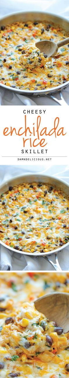 Cheesy Enchilada Rice Skillet - The easiest enchilada you will ever make. No rolling, no folding. Just throw everything into a skillet and you're set! **** added rotisserie chicken and it was great!!