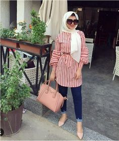 striped chemise-Comfy casual hijab outfits – Just Trendy Girls