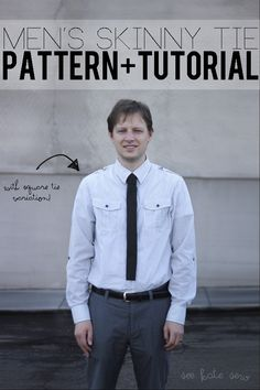 men's skinny tie pattern and tutorial - has variations for square bottom and pointed bottom
