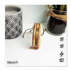 Bracelet en perles Miyuki Délicas et Strass. Multi liens ivoire, doré, pêche. Bracelet tissé en perles   BB by D.