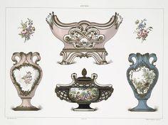 Jardinière marquée au chiffre de Louis XV (Collection de Sir Richard Wallace); Vase tulipe (Collection de Sir Richard Wallace); Vase a fleurons de forme surbaissée (Collection de Sir Richard Wallace); Vase tulipe (Collection de M.L. Berthet).