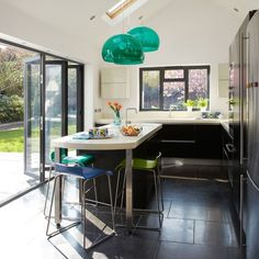 Matt-black kitchen extension | Modern kitchen planning ideas | Ideal Home | Housetohome