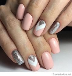 nude-and-white-nails-with-some-grey-glitter