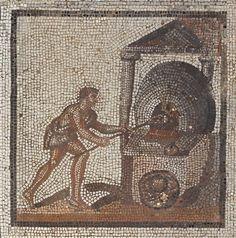 Mosaic showing the baking of bread, Roman 1st to 3rd C. BC / musée d'Archéologie nationale et Domaine national de Saint-Germain-en-Laye