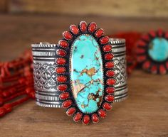 Mediterranean Coral and Royston Turquoise Bracelet Navajo Handmade Nelvin Burbank