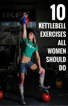 Kettlebells are all bells, no whistles. Resembling a mini bowling ball with a handle, kettlebells are great for cardio, strength, and flexibility training. Start by picking up the weight of your choice—women usually grab between eight and 16 kg weights. Kettlebell Workouts For Women, Kettlebell Cardio, Kettlebell Training, Weight Training Workouts, Fitness Exercises, Kettlebell Challenge, Workout Fitness, Weight Exercises, Women Weight Training
