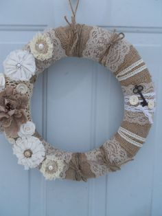 Vintage Shabby Chic Burlap Door or Wall Wreath with lace, buttons, skeleton keys, pearls, florals READY TO SHIP
