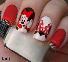 Minnie Mouse Nail Art, Mickey Mouse Nails, Disney Nail Designs, Nail Art Designs, Holiday Nails, Christmas Nails, Love Nails, Pretty Nails, Disney Inspired Nails