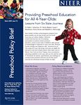 """Over the last decade, state-funded preschool education programs have grown and now enroll more than one million children. However, preschool access in most states is limited to at-risk children. Three states currently offer """"preschool for all"""" - Florida, Georgia and Oklahoma. Three other states are slated to have preschool for all by the next five years - Illinois, New York and West Virginia. This policy brief examines the journeys of these six states in achieving a plan for preschool for al..."""