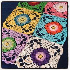 Crochet Rustic lace square blanket Crochet Squares Afghan, Crochet Blocks, Granny Square Crochet Pattern, Crochet Stitches Patterns, Crochet Granny, Crochet Motif, Crochet Doilies, Knit Crochet, Granny Squares