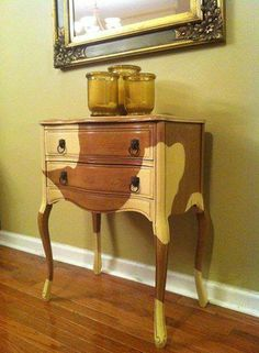 A side table given a unique finish with Cream Chalk Paint® decorative paint by Annie Sloan | By J.B Griffin