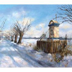 Chapel in Poland/ Przydrozna kapliczka Poland Travel, Heart Of Europe, Winter Painting, Holy Mary, Winter Beauty, My Heritage, Kirchen, Watercolor, Landscape