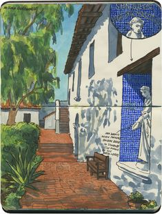 Mission San Diego de Alcalá (with inset sketch of tilework), San Diego, CA.