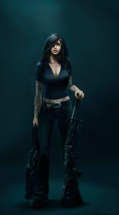 Afbeeldingsresultaat voor sci fi female detective character art
