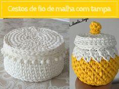 Veja como fica uma graça os cestos de fio de malha com tampa. Tampas de todos os tipos para você se inspirar e fazer o seu! ^.~ Crochet Slippers, Crochet Home, Paper Flowers, Decorative Bowls, Projects To Try, Crochet Patterns, Basket, Knitting, Fabric