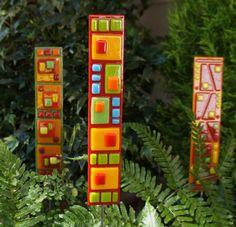 Garden Art  - Red Green Yellow Blue Orange Fused Glass Garden Stake, Home Decor, Outdoor Decor via Etsy