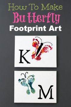 Super easy and just in time for Mother's Day! How to make butterfly footprint art.