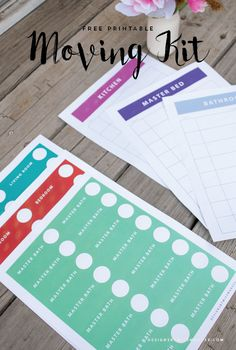"FREE Printable Moving Kit - Designs By Miss Mandee. This has everything you need to make your next move go super smooth; including box labels, ""fragile"" stickers, and matching organization sheets."