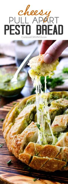 4 Ingredient, make ahead Cheesy Pull Apart Pesto Bread will make your life easier and all your parties more delicious!