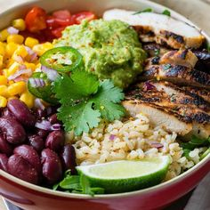 """12.7k Likes, 54 Comments - Fit Healthy Recipes DIY Videos (@fithealthyrecipes) on Instagram: """"Chicken Burrito Bowls + Cilantro-Lime Rice by @cleanfoodcrush #BurritoBowlsAreLife Cilantro Lime…"""""""