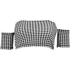 Boohoo Petite Melissa Off The Shoulder Gingham Crop Top (33 BRL) ❤ liked on Polyvore featuring tops, crop top, off shoulder tops, off the shoulder tops, gingham top, gingham off the shoulder top and cropped tops