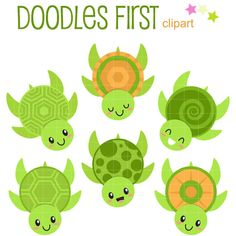 Lindas tortugas Digital Clip Art para artes de papel de